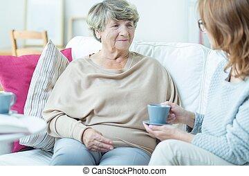 hölgy, idősebb ember, munkás, társadalmi