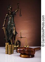 hölgy, közül, igazságosság, érmek, és, árverezői kalapács