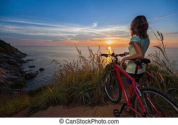 hölgy, noha, bicikli