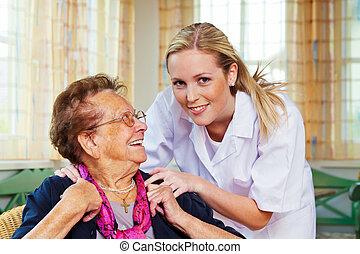 hölgy, otthon, öreg, törődik