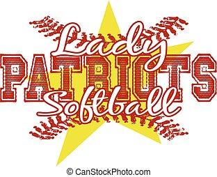 hölgy, patriots, softball labdajáték