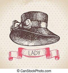 hölgyek, háttér., szüret, skicc, kéz, finom, hat., húzott, nők