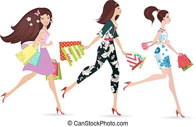 hölgyek, mód, gyalogló, bevásárlás