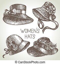 hölgyek, szüret, set., skicc, kéz, finom, húzott, kalapok, nők