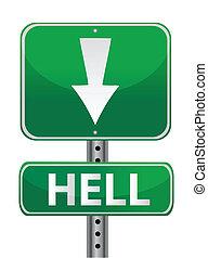 hölle, grün, straßenschild, abbildung