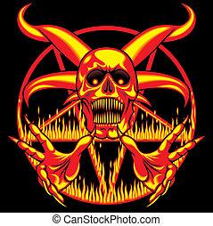hölle, -, pentagram, zeichen