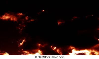hölle, wolkenhimmel, mögen, brennender