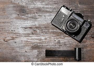 hölzern, alte kamera, hintergrund