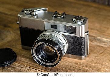 hölzern, alte kamera, hintergrund.
