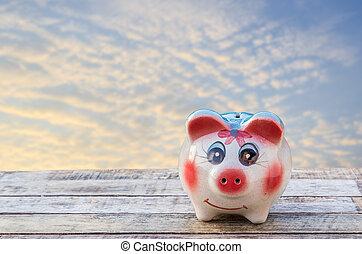 hölzern, aus, himmelsgewölbe, Verwischt, hintergrund, Schweinchen, Tisch,  bank