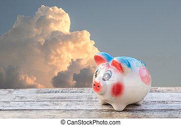 hölzern, aus, himmelsgewölbe, Verwischt, Schweinchen, hintergrund, Tisch,  bank