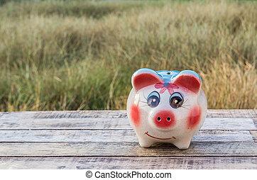 hölzern, aus, Verwischt, hintergrund, Schweinchen, Tisch,  bank