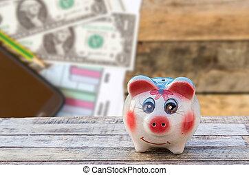 hölzern, aus, Verwischt, Telefon, Schweinchen, Tisch,  bank, Dollar, klug