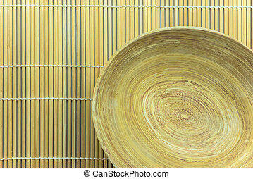 hölzern, bambus, schüssel, matte