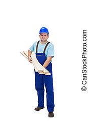 hölzern, baugewerbe, tragen, arbeiter, plancks