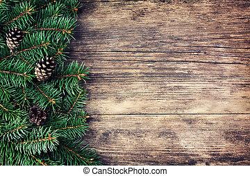 hölzern, baum, weihnachten, hintergrund, tanne