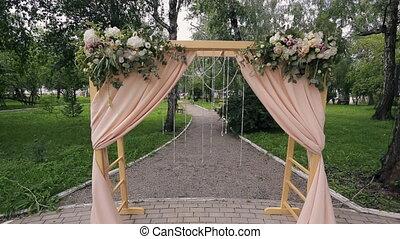 Vorhänge Für Draussen zeremonie wedding draußen zelt zeremonie bereich stock