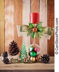 hölzern, dekoration, weihnachten, hintergrund