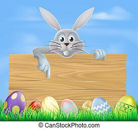 hölzern, eier, osterhase, zeichen