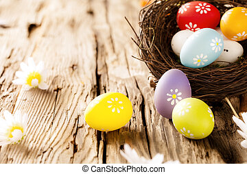 hölzern, Eier, Ostern, Oberfläche