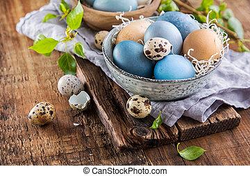 hölzern, Eier, Ostern, Oberfläche, bunte