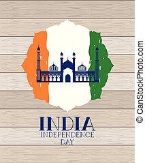 hölzern, fahne, indische , masjid, jama, hintergrund, tempel