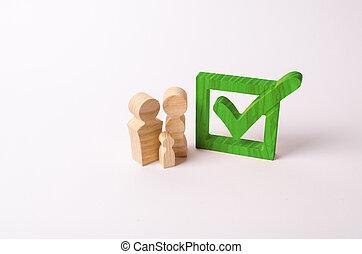 hölzern, figuren, von, leute, stehen, bei, der, grün, zecke, in, der, box., checkbox., leute, stimme, in, wahlen, a, referendum., demokratisch, prozess, teilnahme, in, regierung, elections., einstellung, goals.