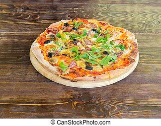 hölzern, gekocht, pizza, altes , tisch