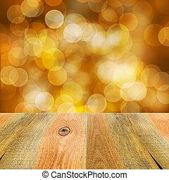 hölzern, gelber , bokeh, hintergrund, orange, tisch
