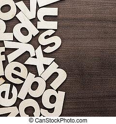 hölzern, großbuchstaben, lowercase, briefe, hintergrund