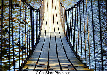 hölzern, hängebrücke