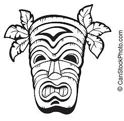 hölzern, hawaiianer, maske