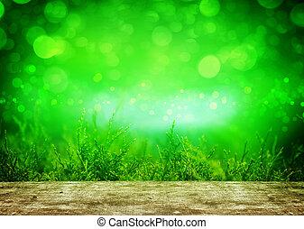hölzern, hinten, grüner hintergrund, tisch, thuja