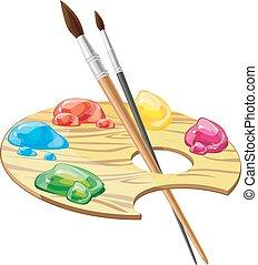 hölzern, kunst, palette, mit, bürsten, und, farben, vektor, abbildung