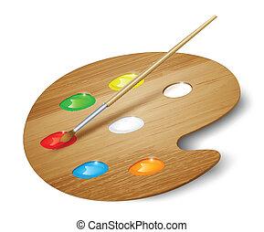 hölzern, kunst, palette, mit, farben, und, brush., vektor