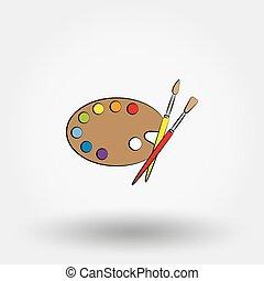 hölzern, kunst, palette, mit, farben, und, brushes.