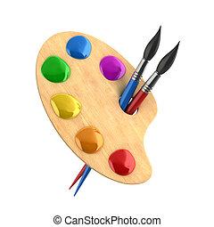 hölzern, kunst, palette, mit, farben, und
