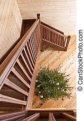 hölzern, land, treppenaufgang, haus