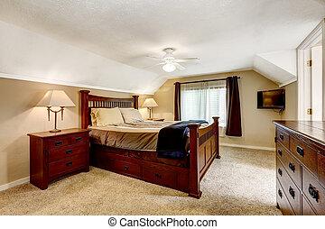 hölzern, meister, reich, schalfzimmer, inneneinrichtung, möbel