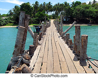 hölzern, pathway., langkawi, insel, malaysien