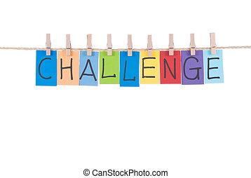 hölzern, pflock, hängen, wörter, herausforderung