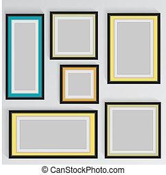 hölzern, quadrat, bild rahmt, farbe, regenbogen, satz, für, dein, netz- design