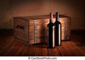 hölzern, reisekoffer, Flaschen
