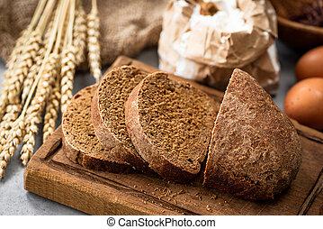 hölzern, roggen, brett, bread
