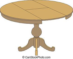 hölzern, runde tabelle, freigestellt, auf, bisschen