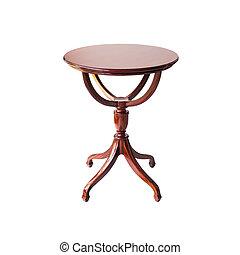 hölzern, runde tabelle, freigestellt, weiß, hintergrund, ausschnitt weg