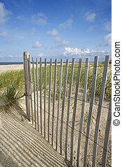 hölzern, sand, zaun, verwittert, dune.