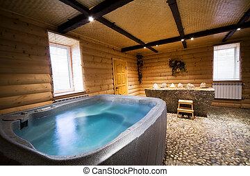hölzern, sauna