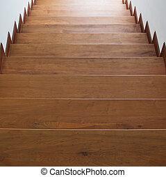 hölzern, schritte, treppenaufgang