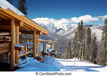 hölzern, ski, chalet, in, schnee, bergpanorama